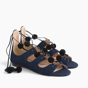 J. Crew Denim Blue Caged Lace Up Gladiator Sandals
